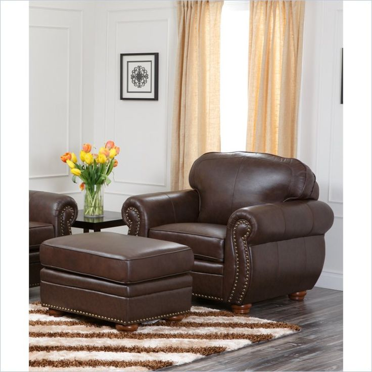 ottoman for living room%0A Abbyson Living Pearla Leather Club Arm Chair with Ottoman in Brown