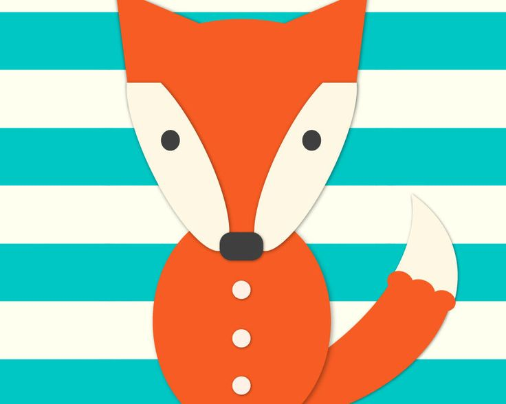 Fox nursery giclee print Teal and coral by cocoandmintstudio