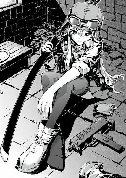 Аниме картинка 800x1127 с  оригинальное изображение nyan (themare) длинные волосы один (одна) высокое изображение смотрит на зрителя светлые волосы сидит держать плиссированная юбка тень монохромное закатанные рукава девушка чулки юбка форма оружие чулки (чёрные) меч