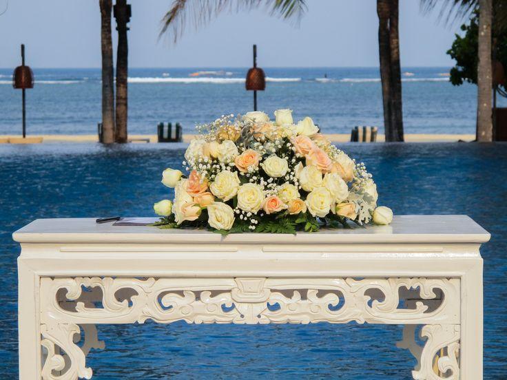 Water Wedding Ceremony..  The Royal Santrian Luxury Beach Villa , Bali , Indonesia..