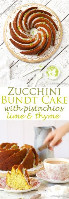 Courgette Lime Cake (aka Zucchini Lime Cake) with pistachios and thyme makes a wonderfully moist and very pretty bundt cake. A light drizzle of zesty lime icing and a little sugared lime zest is all the decoration this cake needs.