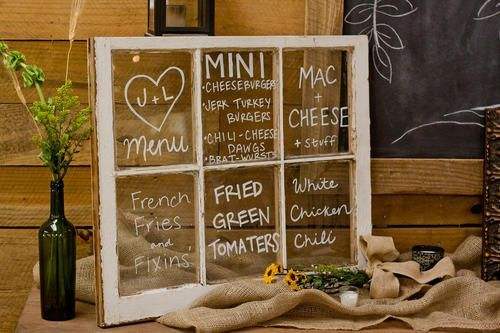 Glass framed menu-