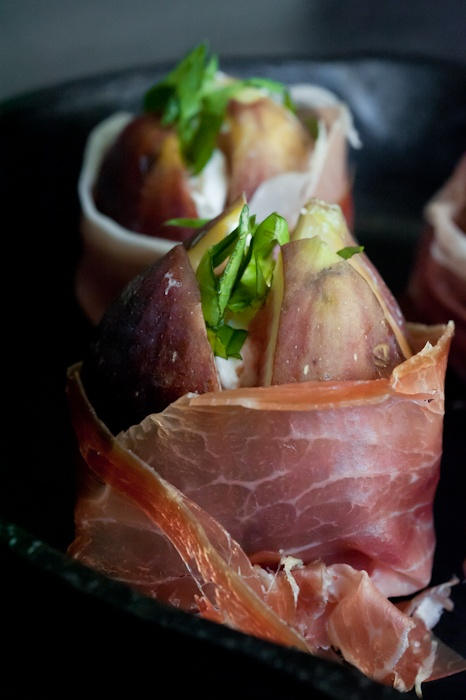prosciutto wrapped + goat cheese stuffed figs | flavour food + wine