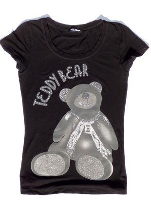 Kup mój przedmiot na #vintedpl http://www.vinted.pl/damska-odziez/koszulki-z-krotkim-rekawem-t-shirty/10199524-czarna-koszulka-z-szaro-srebrnym-misiem
