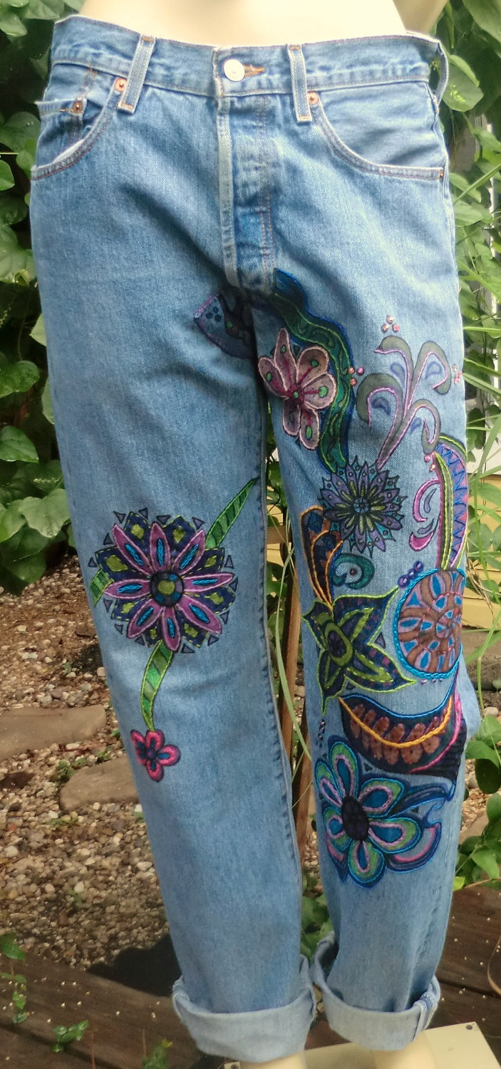 Bohemian Jeans Vintage Levi's Painted Embroidered Hippie Design Upcycled Art