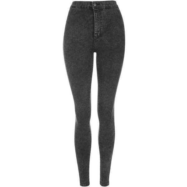 TOPSHOP MOTO Black Acid Joni Jeans ($65) ❤ liked on Polyvore featuring jeans, pants, black, black denim skinny jeans, mens jeans, highwaisted jeans, high-waisted jeans and highwaisted skinny jeans