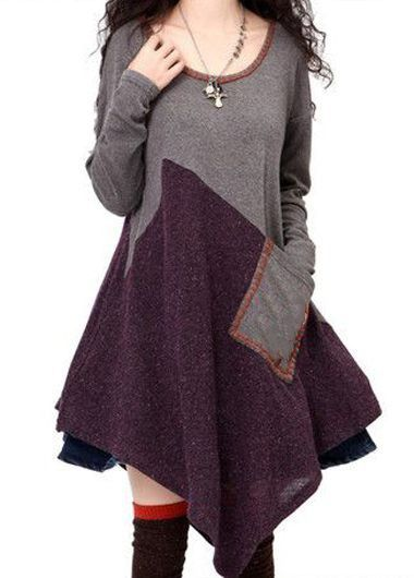 Patchwork Design Round Neck Long Sleeve Pocket Dress on sale only US$35.37 now, buy cheap Patchwork Design Round Neck Long Sleeve Pocket Dress at liligal.com
