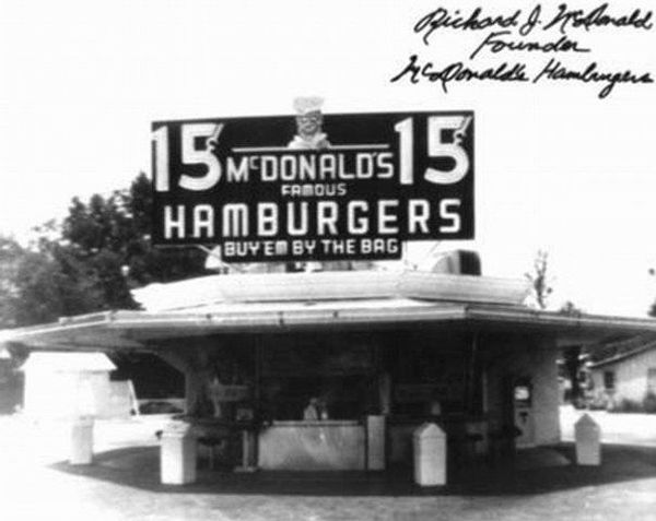 Early Mc Donalds is the perfect image as it shows the past and also with the black and white effect it really gives the effect of the 1950's