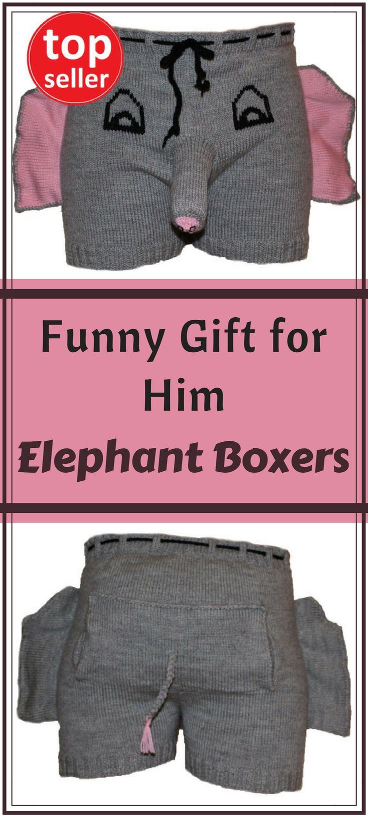 Funny gift for him - Valentines Day gift, Christmas gift, birthday, anniversary, honeymoon, bachelor or gag gift for your special someone! Elephant Boxers, Novelty Boxer Shorts Knitted Underwear Elephant Trunk Funny Humorous Sexy Romantic Gift for Men NNT #giftforhim #affiliate #funny #romantic #giftidea