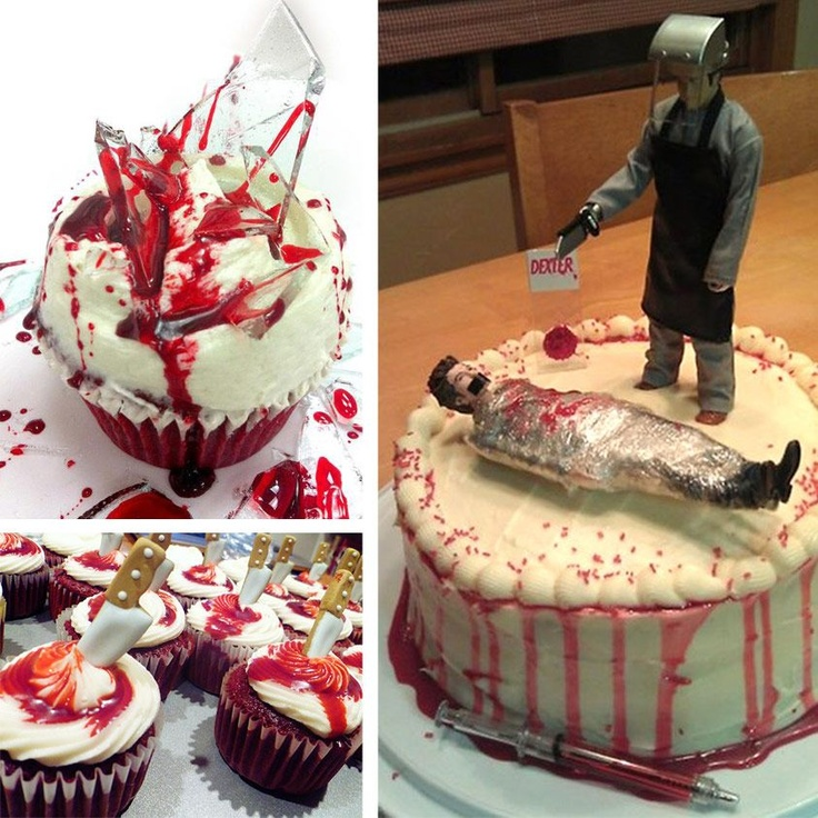 I want this to be my next b-day cake :) Dexter cupcakes and cake!