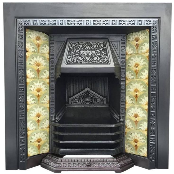 Late 19th Century Victorian Cast Iron Fireplace Insert   From a unique collection of antique and modern fireplace tools and chimney pots at https://www.1stdibs.com/furniture/building-garden/fireplace-tools-chimney-pots/