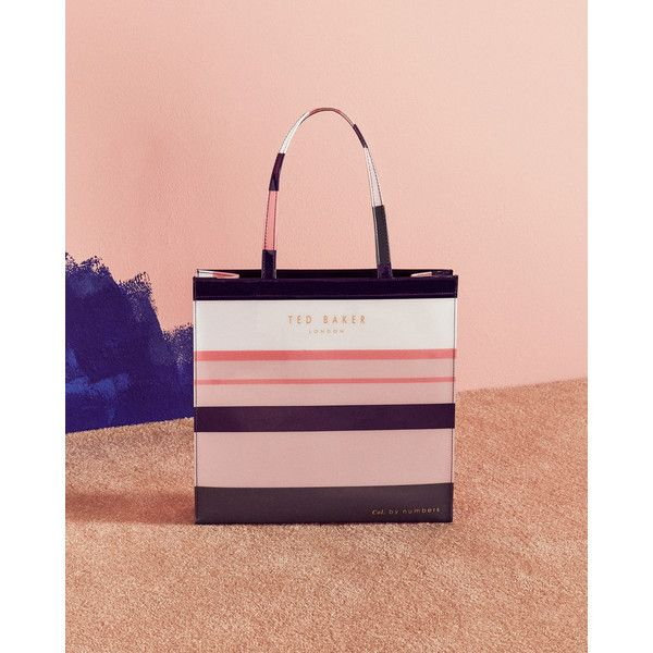 Ted Baker Striped shopper bag (1,065 EGP) ❤ liked on Polyvore featuring bags, handbags, tote bags, assorted, stripe tote bag, ted baker tote, pink purse, color block tote and ted baker tote bag