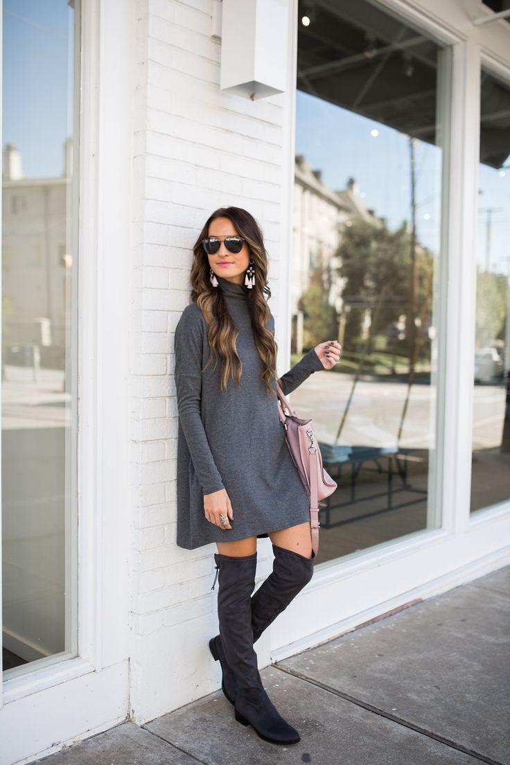 lauren sims grey sweater dress + over the knee boots