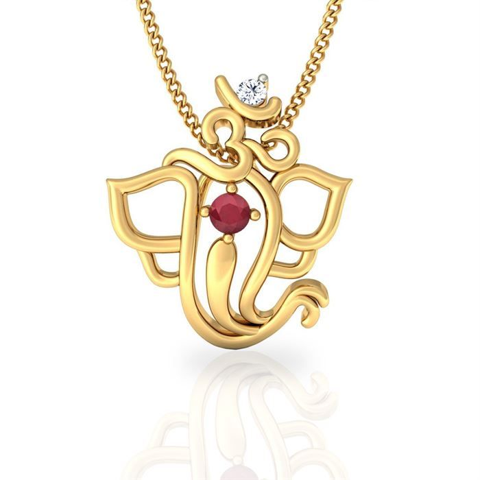 This artistic combination of Om and lord Ganesha pendant is made in 18kt gold with certified diamonds and ruby. Buy shree ganesha gold diamond pendant online @jacknjewel.
