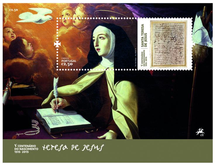 Dos sellos de correos portugueses, homenaje a Teresa de Jesús