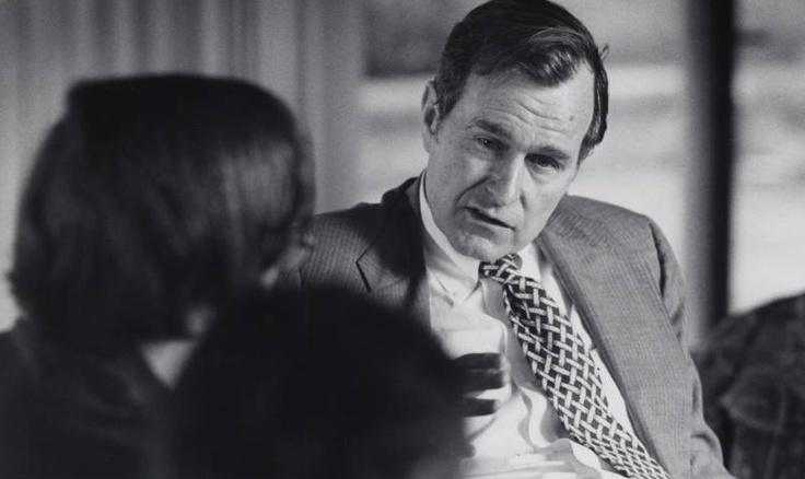 From Claremont Colleges Photo Archive: George H.W. Bush speaks at Claremont McKenna College.