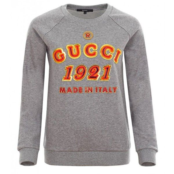 Gucci Grey Embroidered Logo Motif Jumper found on Polyvore