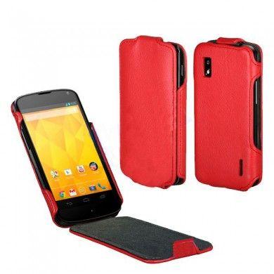 Forro Google Nexus 4 - con Tapa - Cuero Rojo