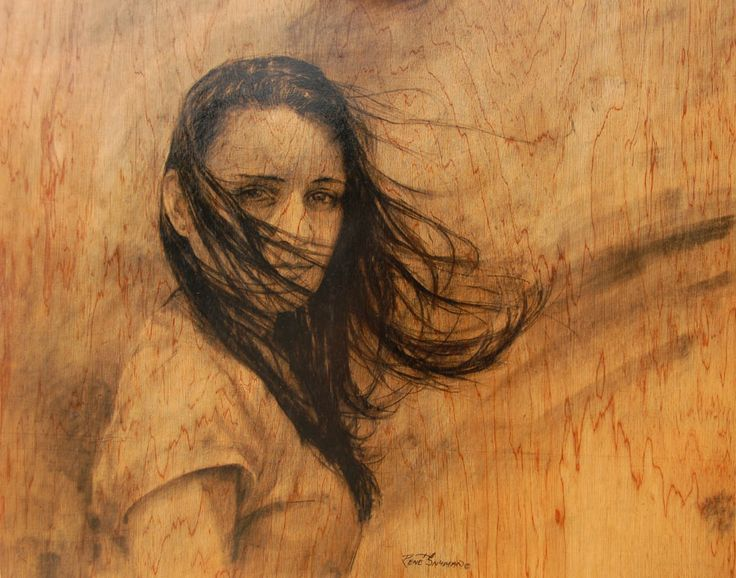 """South African artist Rene Snyman's """"In wind en weer"""" - (In the wind and weather). Charcoal pencil on wood."""