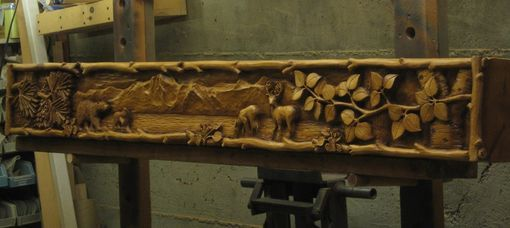 Custom made carved wood mantel deer bear and lake by for Ramsey fireplace