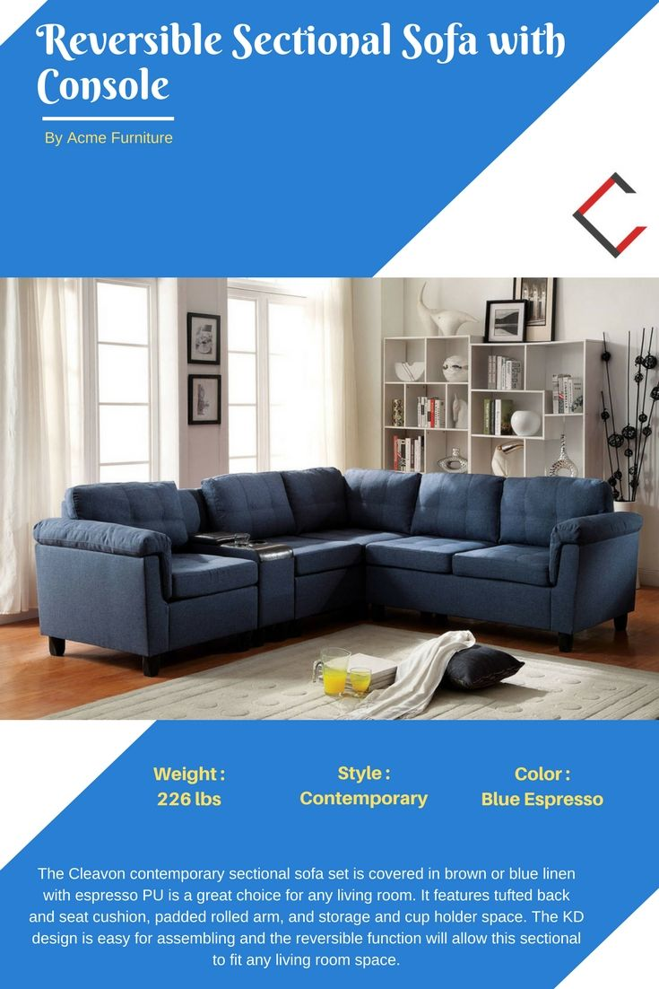 Astonishing Acme Furniture Cleavon Blue Reversible Sectional Sofa With Alphanode Cool Chair Designs And Ideas Alphanodeonline