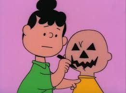 This is one of my favorite Peanuts pictures ever-- from It's the Great Pumpkin Charlie Brown. Poor Chuck's so happy to be invited to the Halloween party, and then, they want him to MODEL!!--FOR THIS!!! Oh, it cracks me up every time!!! {GM}