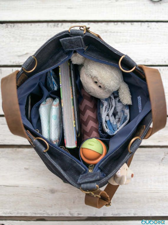 FREE SHIPPINGWAXED Diaper Bag Denim Bag Leather