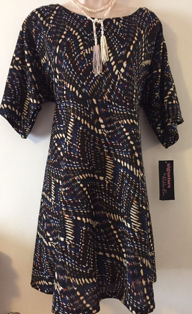 0b351e572383 Robbie Bee dress petit large fit and flare Blue multi boho style ...