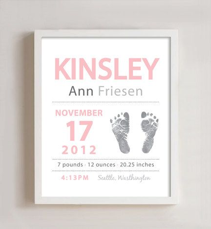 Personalized Baby Birth Print - design for the kids' baby books