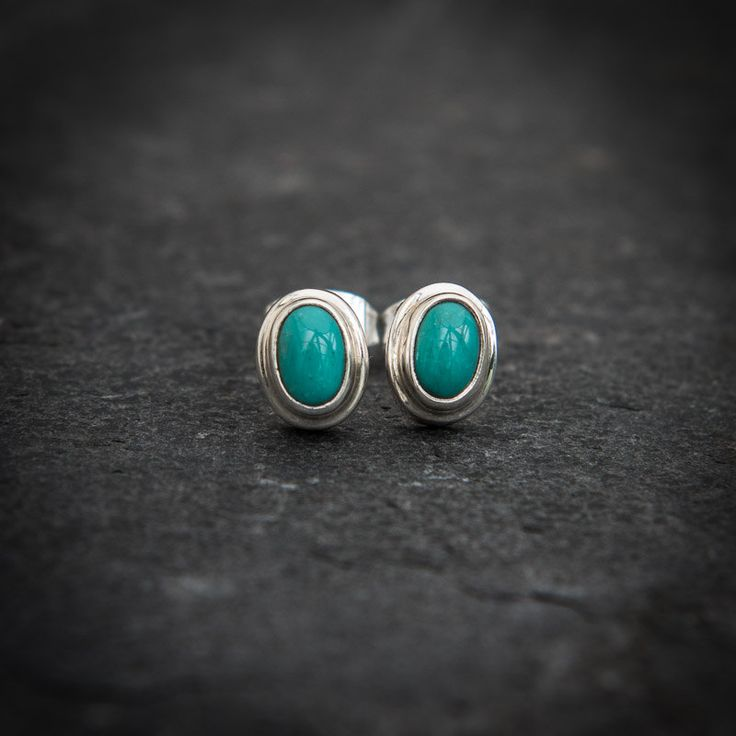 Turquoise Earrings, Silver Stud Earrings, Turquoise Studs, Turquoise and Silver, Gemstone Earrings, Semi Precious Stones, Sterling Silver