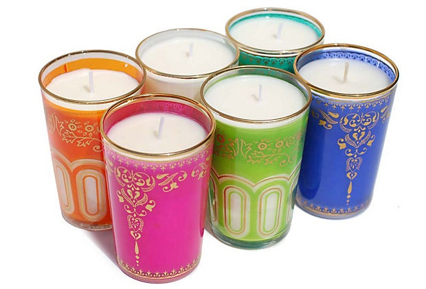 We love these bright color candles...perfect for a lady sangeet night/bridal shower