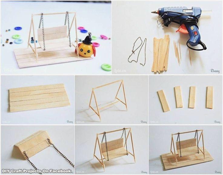 Balanço feito com palitos de picolé e palitos de churrasco. Fica a coisa mais fofa. ------------------------------- #DIY #facavocemesmo #artesanato #customizacao #reciclagem #reutilizacao #lifehack #dica #tutorial #howto #idea #decor #decoracao #cool #cute #love #amor #balanco #criatividade