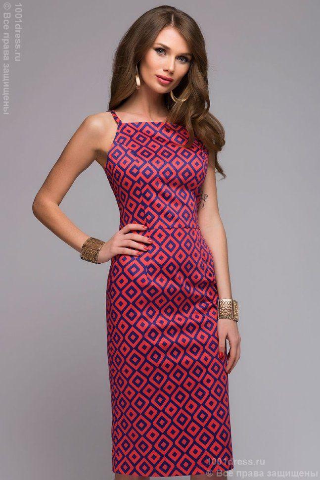 Коралловое платье длины миди с принтом