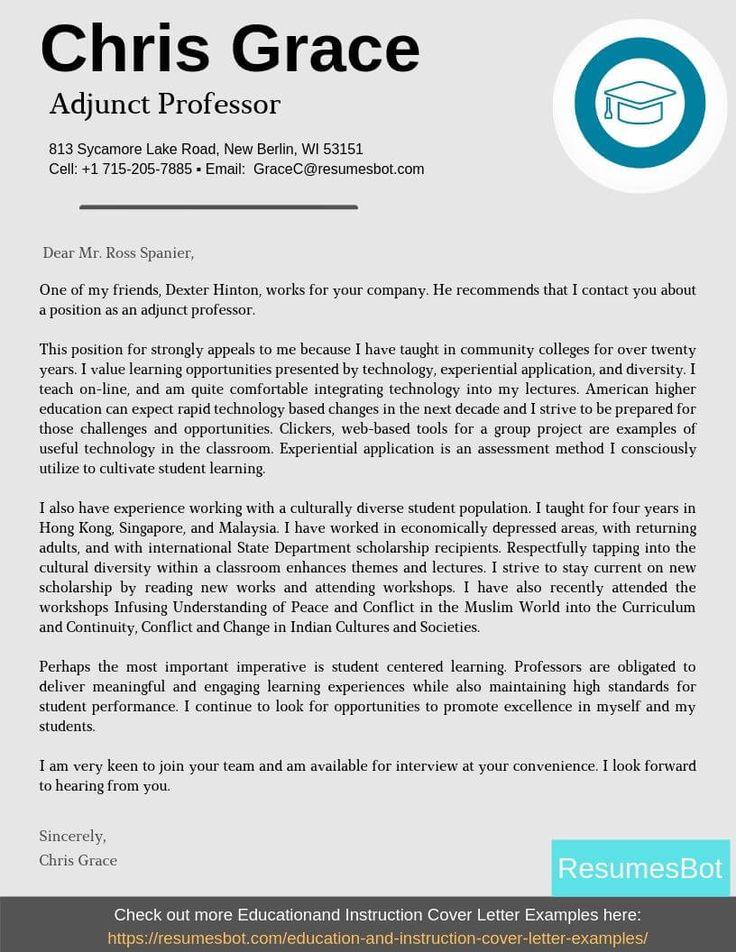 Adjunct Professor Cover Letter Samples Templates Pdf Word 2021 Adjunct Professor Cover Letters Rb Writing A Cover Letter Cover Letter Example Adjunct Professor