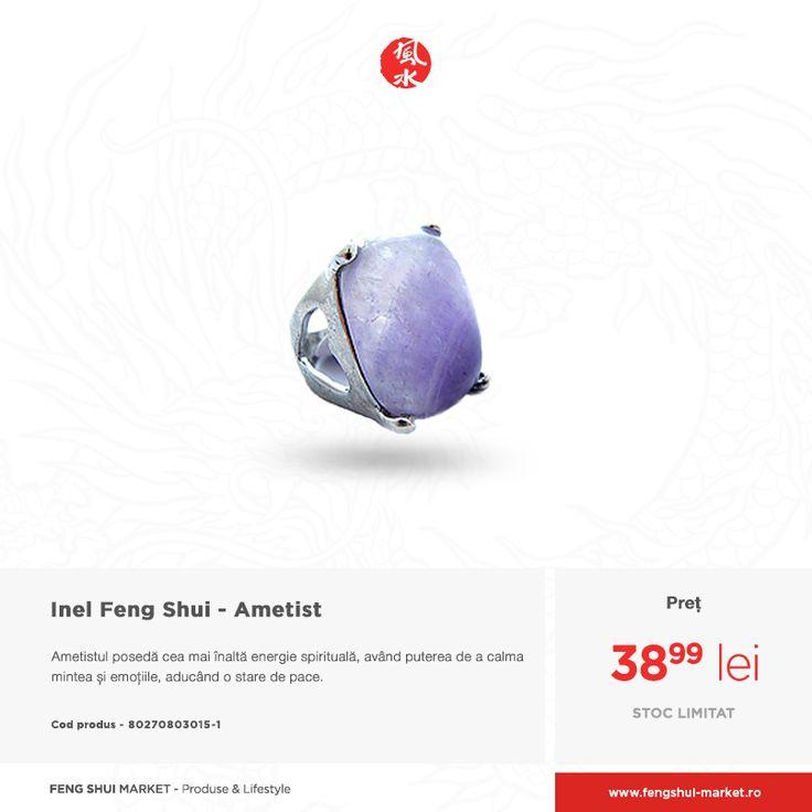 Ametistul este cristalul cel mai des folosit în meditație pentru activarea clarității gândurilor și reducerea anxietății, a stresului sau a depresiilor.  Ține aproape acest cristal prin intermediului unui inel de efect, care îți va completa ținuta: http://www.fengshui-market.ro/detalii-produs/ro/bijuterii-in-stil-feng-shui-60/inel-feng-shui---ametist-4358