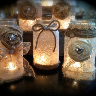 Candle holders for weddihgs or parties or picnics outside.  Just spray jar with adhesive, apply lace doily, embellish with vintage ribbon or twine, glitter, & junk jewelry bits.
