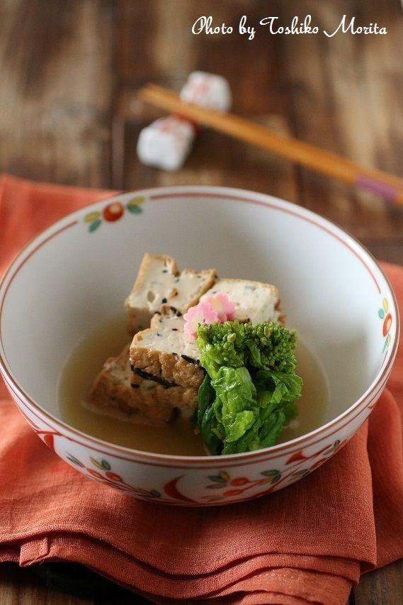 優しいお味の一品料理◎五目厚揚げと菜の花のおひたしのレシピ♪