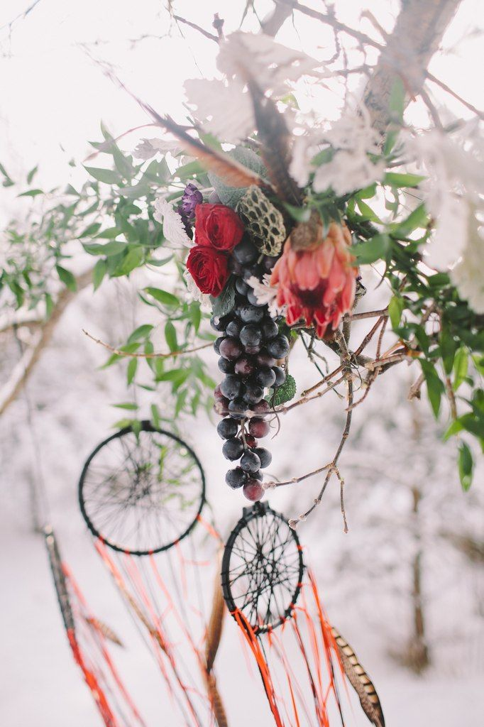 Bohemian wedding. Burgundy wedding bouquet, composed of Proteus, roses and other flowers. Registration was held under a beautiful branch, which we have decorated with floral decoration. Dreamcatchers also decorated the wedding in Bohemian style. Photographer Olga Platonova, florist and decorator Christine Ageeva, wedding planner Agency Only you.