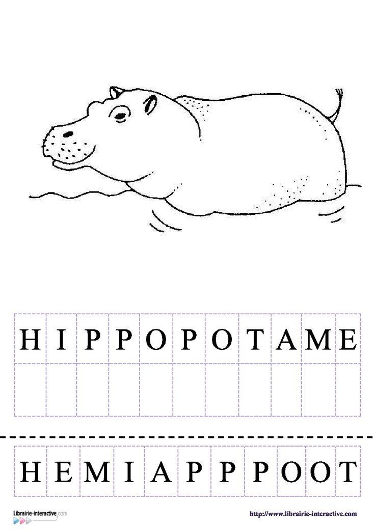 12 fiches pour la maternelle (PS, MS GS) pour découvrir, lire et écrire les mots du vocabulaire des animaux d'Afrique (lion, girafe, hippopotame, tigre, chimpanzé, zèbre, léopard, gorille, rhinocéros, éléphant, dromadaire, ... )