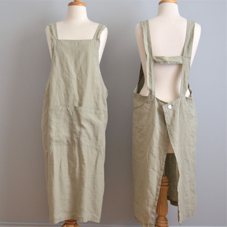 Adult 100% stonewashed French linen apron in Stone colour