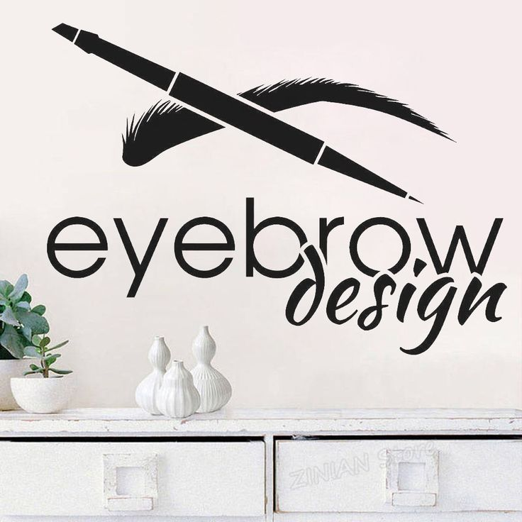 Eyebrow Design Beauty Salon Logotype Brow Art Wall Stickers Removable Wall Decor Mural Eyelash Make Up Wall Decal For Girls Z866