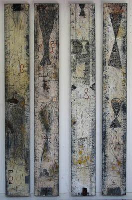 Walter Rast 1) Vinden van de Graal Gemengde techniek op doek 176 x 23 cm (2x) 2005  2) Over Krijgers Gemengde techniek op doek 176 x 23 cm (2x) 2005