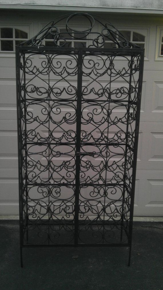 Wrought Iron Wine Rack Cabinet Antique Vintage By