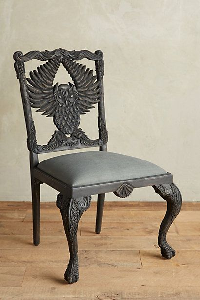 Handcarved Menagerie Owl Dining Chair Anthropologie Owl And Dining Chairs