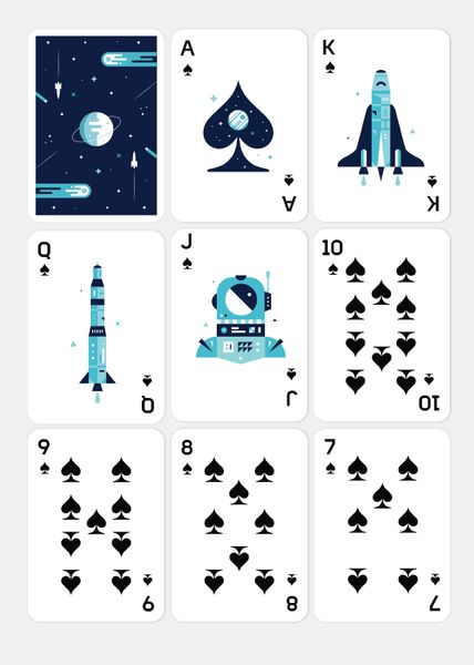 Take your card playing skills to the stratosphere with the Space deck from Amigos Playing Cards. Featuring illustrations by Alonzo Felix, Space Playing Cards are printed by the Expert Playing Card Com