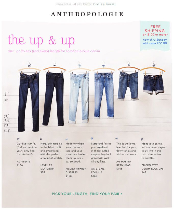 Anthropologie >> sent 3/15/13 >> Denim on the rise | Free shipping >> This email makes it super easy to see at a glance the difference between Anthropologie's different denim styles, plus they also offer advice on what to wear with each style. –Chad White, Principal of Marketing Research