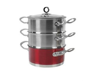 Red 18 cm 3 Tier Steamer
