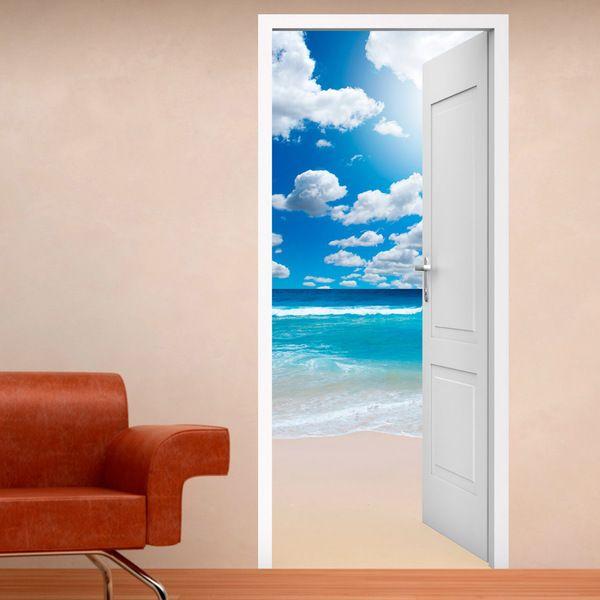 Vinile decorativo porta aperta ad una spiaggia e nuvole #decorazione #vinile #porta #StickersMurali