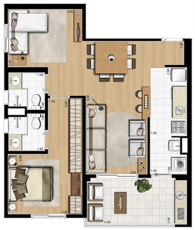 Planta ilustrada opção de 70 m²