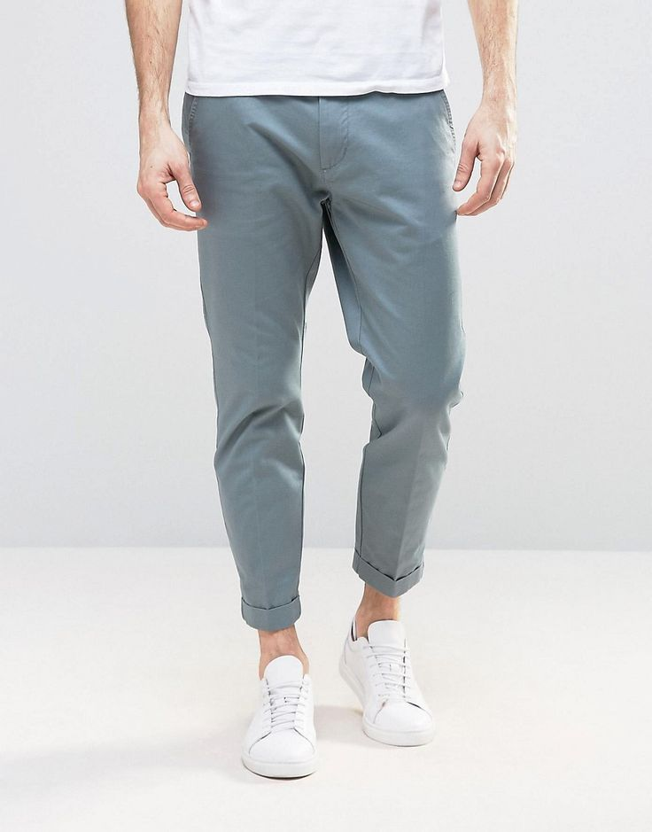 Dr Denim Rigid Slim Tapered Chino With Turn Up - Blue